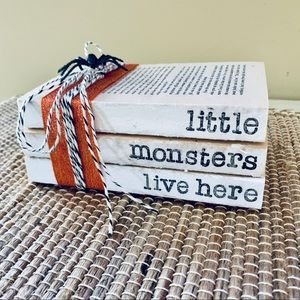 Farmhouse Hand Stamped Book Stack Halloween Decor